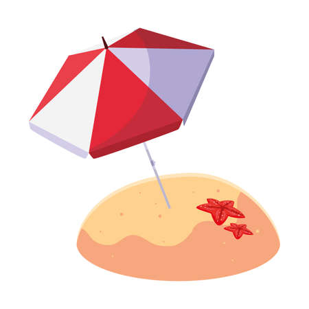 summer sand beach with umbrella and starfish vector illustration design Ilustração