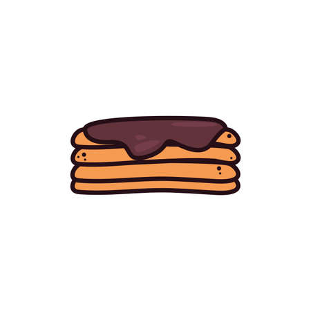 tasty fluffy pancakes in white background vector illustration design