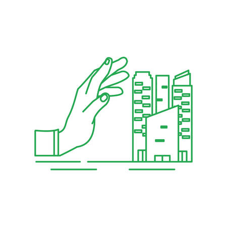 hand with facade buildings urban isolated icon vector illustration design