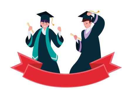happy students boys graduated celebrating with ribbon vector illustration design Illustration