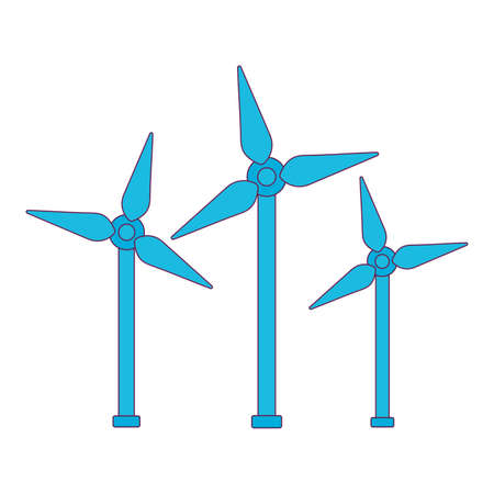 Wind mills design, Save energy power eco sustainable and environmental theme Vector illustration Ilustração