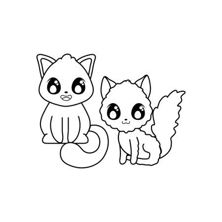 cute cats on white background vector illustration design 일러스트