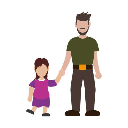 father with his daughter smiling avatar character vector illustration design