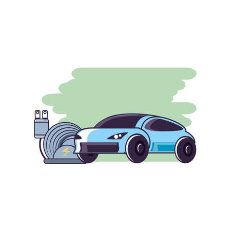 car sedan transportation with energy plug electric vector illustration design