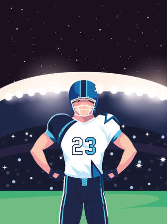 Player with helmet in front of grandstand design, Super bowl american football sport hobby competition game training equipment tournement and play theme Vector illustration Иллюстрация