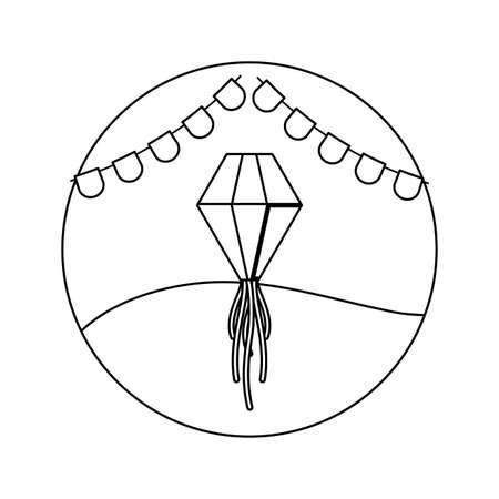 lamp hanging with garlands hanging in frame circular vector illustration design Ilustração