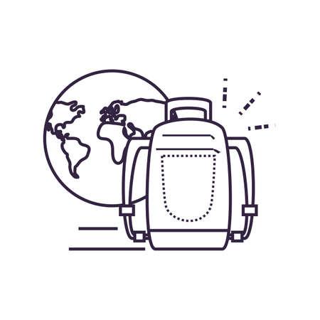 travel bag equipment with world planet vector illustration design Illusztráció
