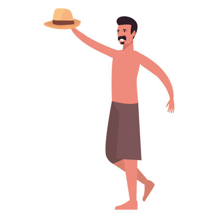 summer time holiday man with hat vector illustration