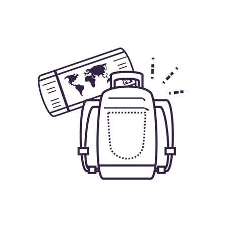 travel suitcase equipment with ticket flight vector illustration design Illusztráció