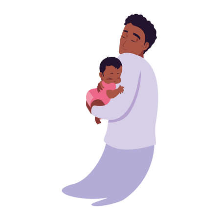 dad carrying his baby in his arms vector illustration  イラスト・ベクター素材
