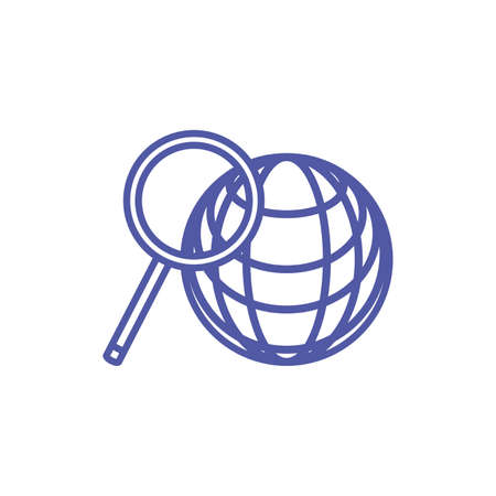 sphere browser with search magnifying glass vector illustration design