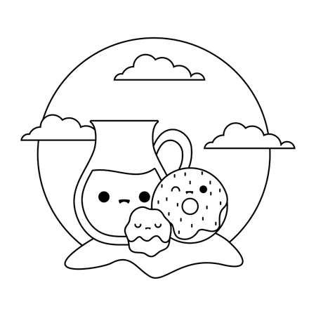cute teapot with set food in landscape kawaii style vector illustration design
