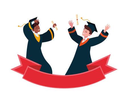 interracial students boys graduated celebrating with ribbon vector illustration
