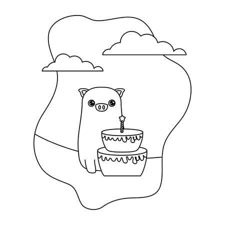 cute piggy animal with cake birthday vector illustration design
