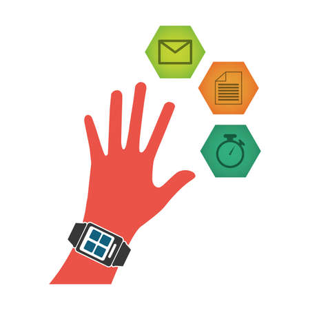 smart watch technology with applications menu vector illustration design