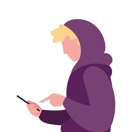 young man using smartphone social media vector illustration Ilustracja