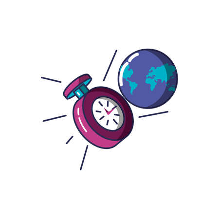 chronometer time with planet earth vector illustration design
