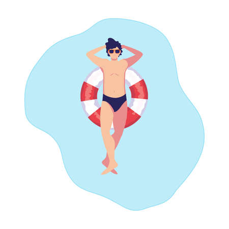 young man with swimsuit and float lifeguard in water vector illustration design