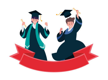 happy students boys graduated celebrating with ribbon vector illustration design  イラスト・ベクター素材