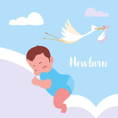 newborn card with stork flying and baby bag vector illustration design Иллюстрация
