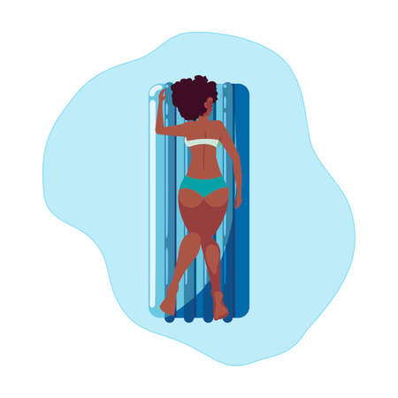 afro woman tanning in float mattress floating in water vector illustration design