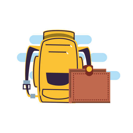 travel suitcase equipment with travelbag vector illustration design