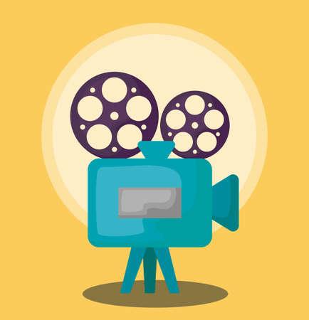 cinema camera video with tape reel vector illustration design
