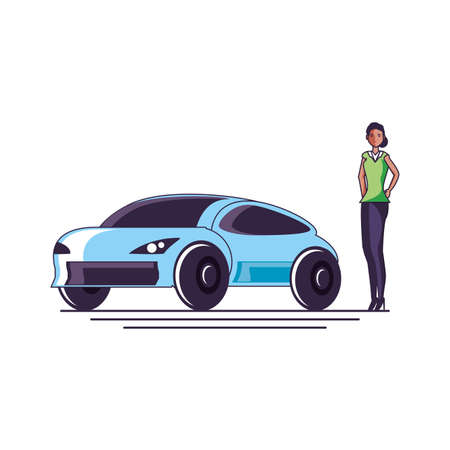 car sedan transportation with young woman vector illustration design