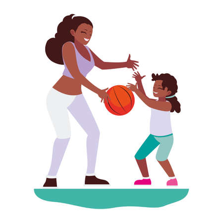 african mother with daughter playing basket ball vector illustration design