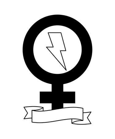 gender female symbol with ribbon and thunderbolt vector illustration design