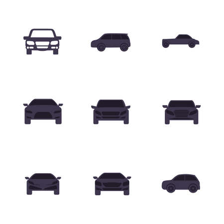 Black cars set design, Vehicle automobile auto transportation transport wheel automotive and speed theme Vector illustration Illustration
