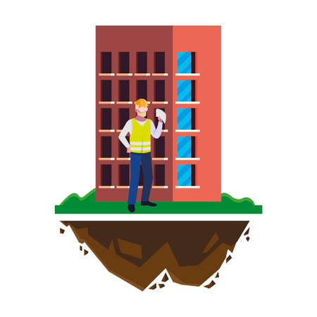 male builder constructor worker with building vector illustration design