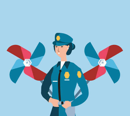 female police officer with wind toy labor day celebration vector illustration design Ilustrace