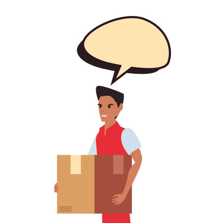 man employee package talk bubble fast deliveryvector illustration