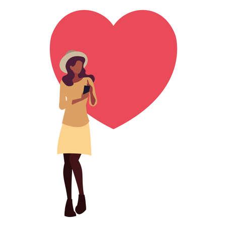 young woman using smartphone social media vector illustration Illusztráció