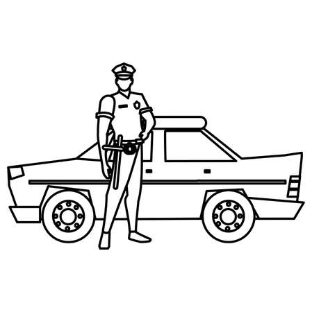 police officer and police car icon over white background, vector illustration