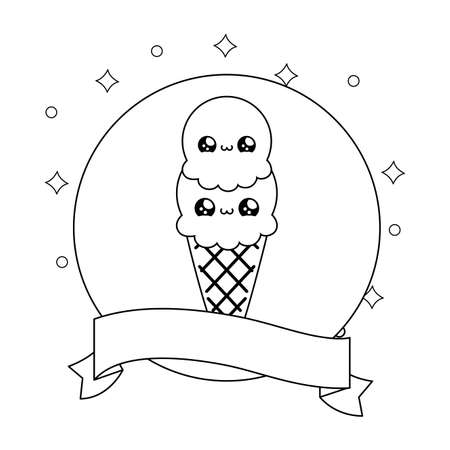 ice cream in frame circular with ribbon style vector illustration design 矢量图像
