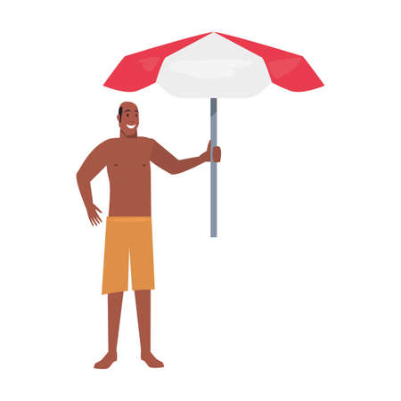 bald man holding umbrella vacations tropical summer vector illustration Ilustrace