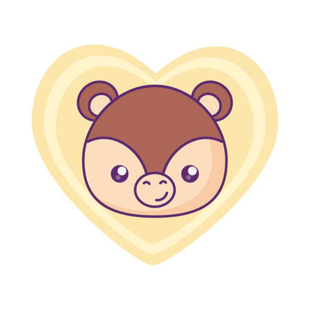 head of cute little bear baby in heart vector illustration design 矢量图像