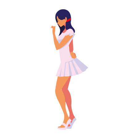 beautiful woman character side view white background vector illustration