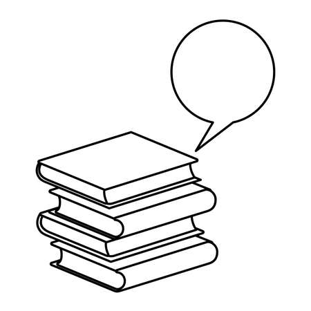 pile of textbooks with speech bubble vector illustration design