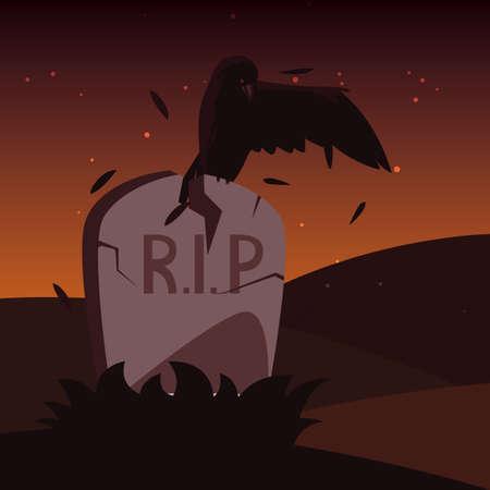 halloween gravestone with crow animal vector illustration design
