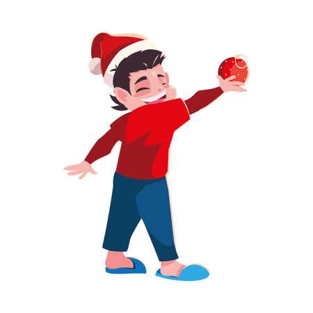 Kid with santas hat design, Merry christmas season decoration card invitation celebration and holiday theme Vector illustration