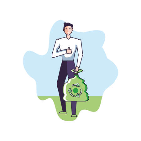 young man with bag eco friendly vector illustration design
