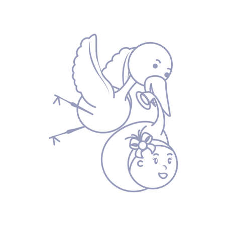 stork with cute baby girl avatar character vector illustration design