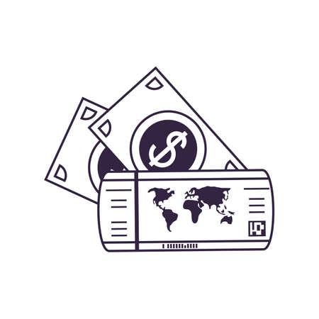 ticket flight document with bills dollars vector illustration design