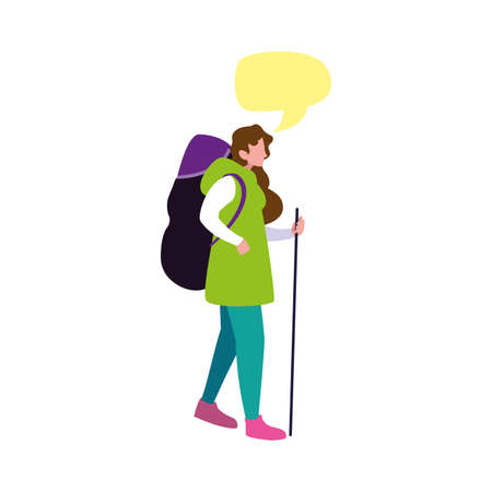 young woman with backpack travel talk bubble vector illustration