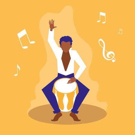 man playing bongo drum artists vector illustration design Illustration
