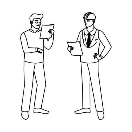 builder constructor with engineer characters vector illustration design Vecteurs