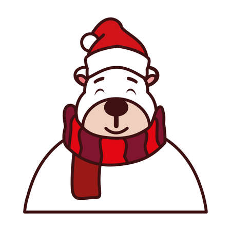 polar bear with hat and scarf vector illustration design